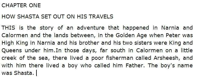 Отрывок для ознакомления со сложностью чтения The Horse and His Boy