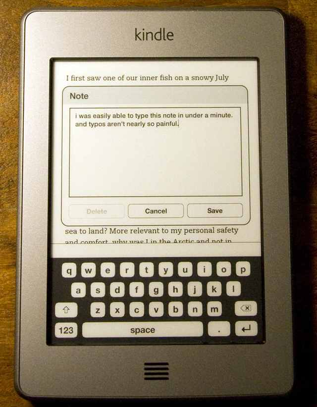фотографии Kindle Touch виртуальная клавиатура