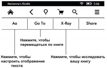 Kindle Paperwhite дополнительная панель инструментов