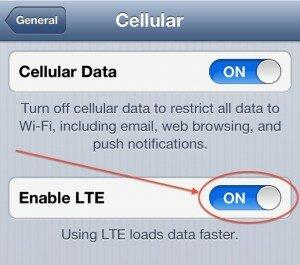 iPhone 5 выключить мобильную связь 4G LTE на