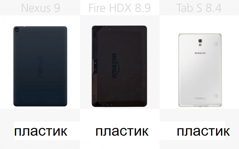 Материал корпуса Google/HTC Nexus 9, Amazon Kindle Fire HDX 8.9, Samsung Galaxy Tab S 8.4
