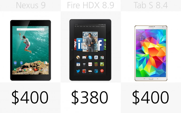 Начальная цена Google/HTC Nexus 9, Amazon Kindle Fire HDX 8.9, Samsung Galaxy Tab S 8.4