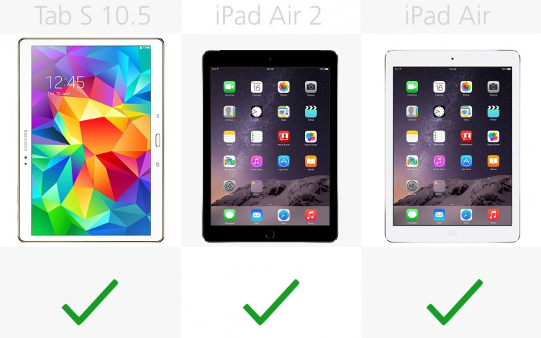 Приложения Google Galaxy Tab S 10.5, Apple iPad Air 2, Apple iPad Air