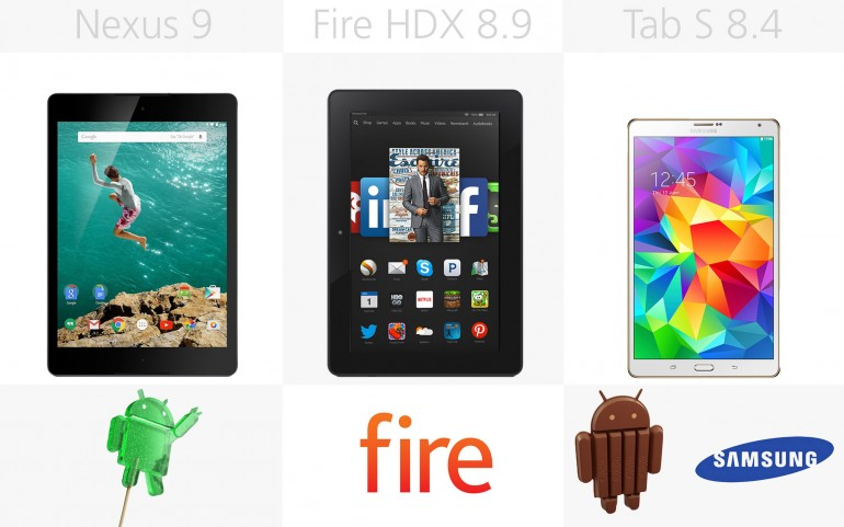 Программное обеспечение Google/HTC Nexus 9, Amazon Kindle Fire HDX 8.9, Samsung Galaxy Tab S 8.4