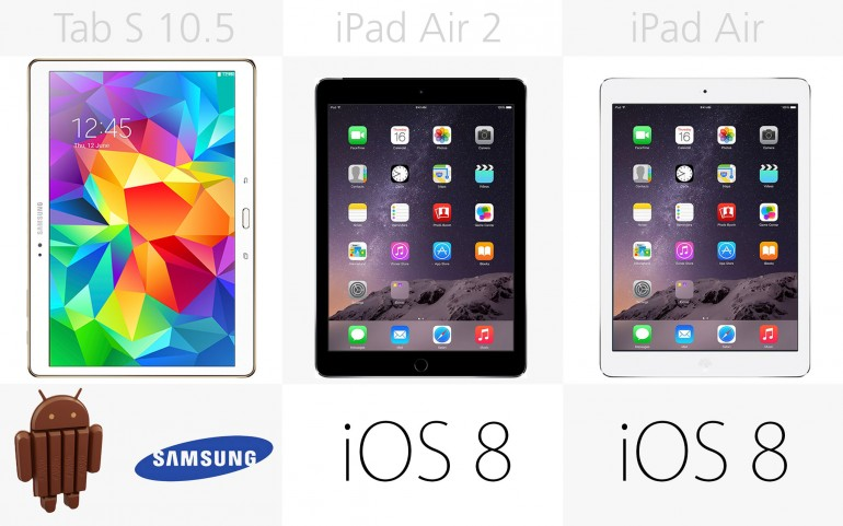 Программное обеспечение Galaxy Tab S 10.5, Apple iPad Air 2, Apple iPad Air